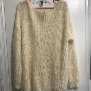 New Easel Eyelash Pullover Sweater Cream Sz M/L